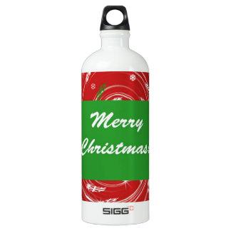 メリークリスマスの雪は赤い緑-背景のはげます ウォーターボトル