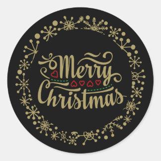 メリークリスマスの雪片およびハートのステッカー ラウンドシール