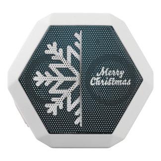 メリークリスマスの雪片の青 ホワイトBluetoothスピーカー