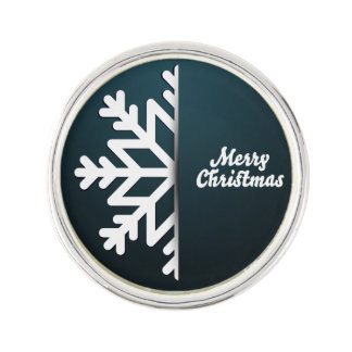 メリークリスマスの雪片の青 ラペルピン