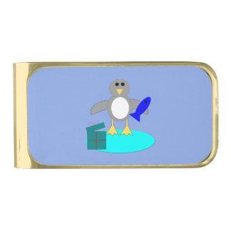 メリークリスマスの魚釣りのペンギンのマネークリップ 金色 マネークリップ
