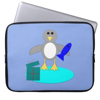 メリークリスマスの魚釣りのペンギンのラップトップのバッグ ラップトップスリーブ