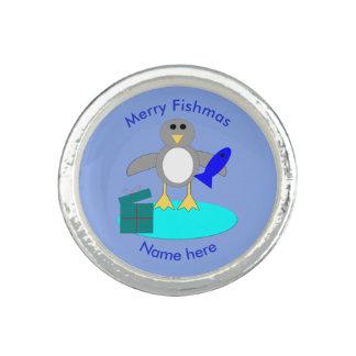 メリークリスマスの魚釣りのペンギンのリング 指輪