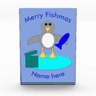 メリークリスマスの魚釣りのペンギンの装飾 表彰盾