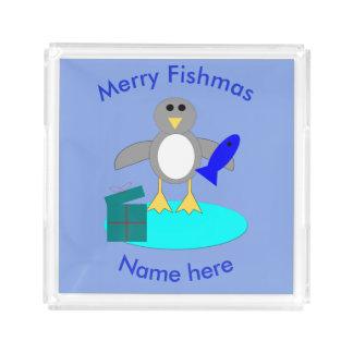 メリークリスマスの魚釣りのペンギンの香水の皿 アクリルトレー