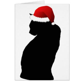 メリークリスマスの黒猫のサンタカード カード