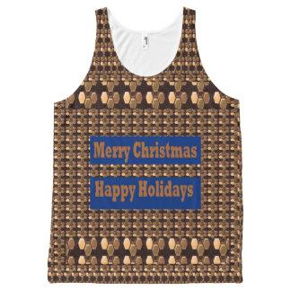 メリークリスマスのGoldStarの背景のタンクトップ オールオーバープリントタンクトップ