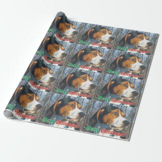 メリークリスマスのTreeingの歩行者のCoonhound ラッピングペーパー