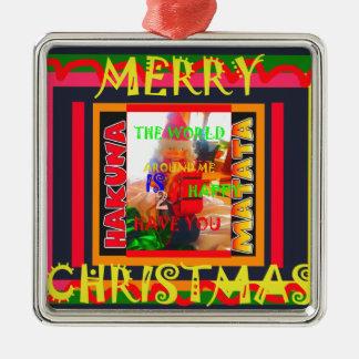 メリークリスマスは私のまわりの世界haに幸せです メタルオーナメント