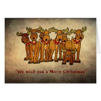 メリークリスマスまたは季節的-トナカイのグループ カード