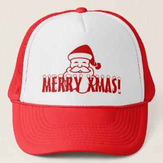 メリークリスマスを言っているサンタクロースが付いているクリスマスの帽子! キャップ