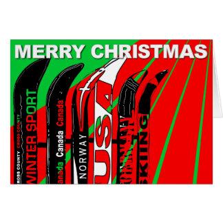 メリークリスマスカードスキー雪の刃の冬季スポーツ カード