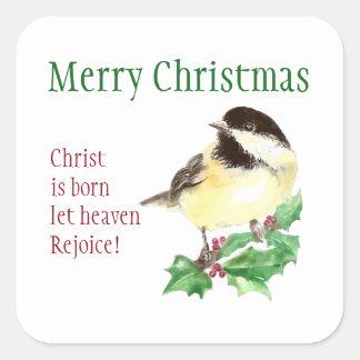 メリークリスマスキリストは生まれます許可しました天国を喜びます スクエアシール