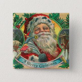 メリークリスマスサンタおよびトナカイ場面 5.1CM 正方形バッジ