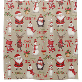 メリークリスマスサンタおよび友人 シャワーカーテン
