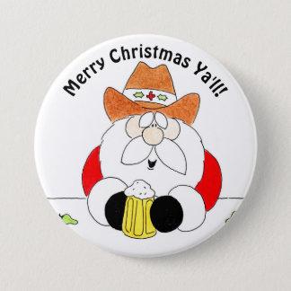 メリークリスマスサンタのクリスマスボタン 7.6CM 丸型バッジ