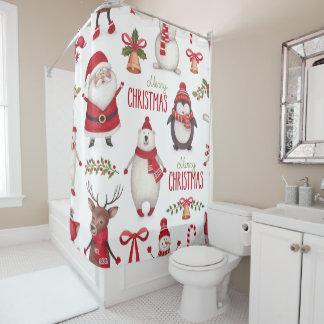 メリークリスマスサンタクロースおよび友人 シャワーカーテン