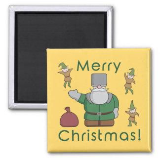 メリークリスマスサンタクロースおよび小妖精や小人 マグネット