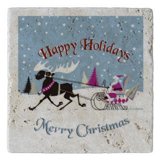 メリークリスマスサンタ及びトナカイの絵 トリベット