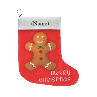 メリークリスマスメッセージ: かわいいジンジャーブレッドマン、 ラージクリスマスストッキング