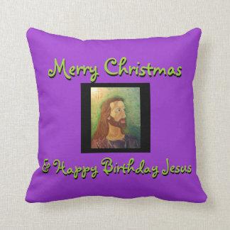 メリークリスマス及びハッピーバースデーのイエス・キリストの枕 クッション