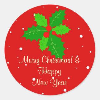 メリークリスマス及び明けましておめでとう ラウンドシール