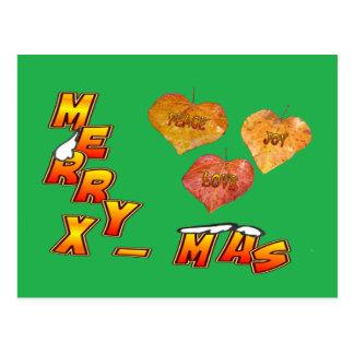 メリークリスマス及び3つのハート形の葉の緑の郵便はがき ポストカード