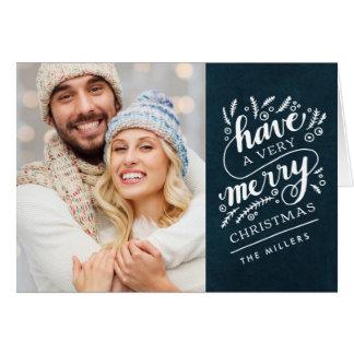 メリークリスマス手教養がある海軍黒板カード グリーティングカード