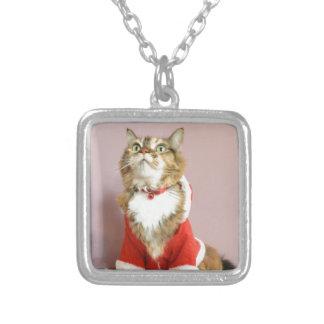 メリークリスマス猫のサンタの小娘 シルバープレートネックレス