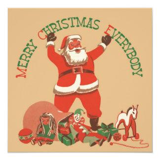 メリークリスマス皆! ヴィンテージサンタクロース 13.3 スクエアインビテーションカード