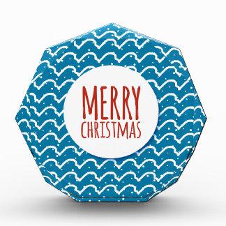 メリークリスマス継ぎ目が無いパターン青の質 表彰盾