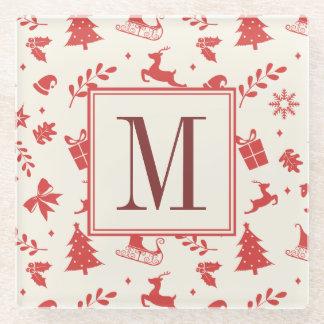 メリークリスマス装飾的な家族のモノグラムのイニシャル ガラスコースター