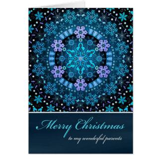 メリークリスマス親、Bohoの青い雪片 カード
