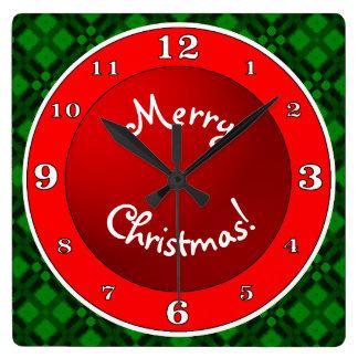メリークリスマス赤いnの緑 スクエア壁時計