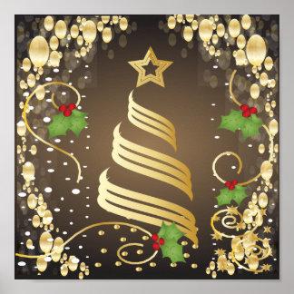 メリークリスマス陽気なEarthtoneブラウンおよび金ゴールド ポスター