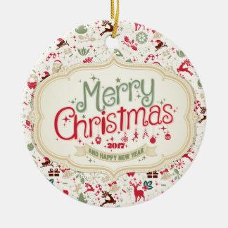 メリークリスマス2017の円形のオーナメント セラミックオーナメント