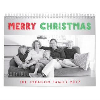 メリークリスマス2017年の名前入りな写真のカレンダー カレンダー