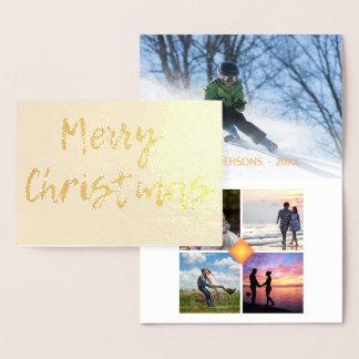 メリークリスマス5の写真のコラージュのテンプレート 箔カード