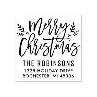 メリークリスマス|のモダンな原稿の住所 ラバースタンプ