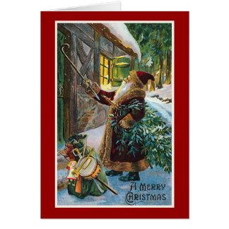 """""""メリークリスマス""""のヴィンテージのクリスマス カード"""