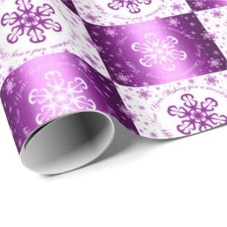 """""""メリークリスマス""""の望みます紫色及び白 ラッピングペーパー"""