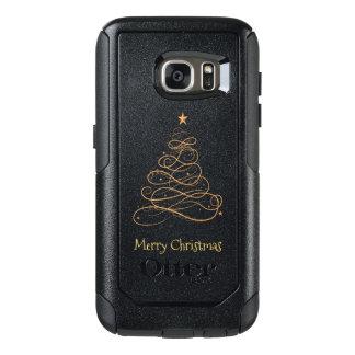 """""""メリークリスマス""""の金ゴールドの線条細工のクリスマスツリー オッターボックスSamsung GALAXY S7ケース"""