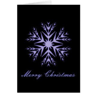 """""""メリークリスマス""""の-冬の青い雪片[a] カード"""
