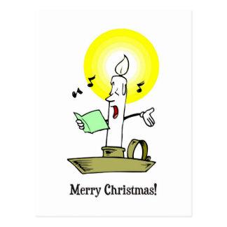 メリークリスマス、キャロルを歌う蝋燭の引くこと ポストカード
