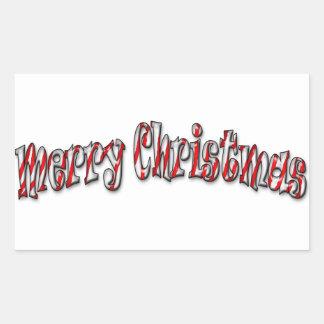 メリークリスマス-キャンディ・ケーン 長方形シール