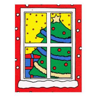 メリークリスマス、クリスマスのために飾られる木 ポストカード