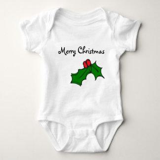 メリークリスマス-クリスマスのヒイラギ ベビーボディスーツ
