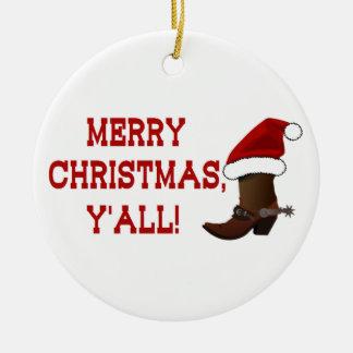 メリークリスマス-サンタのブーツ(白の背部) セラミックオーナメント