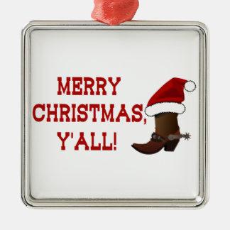 メリークリスマス-サンタのブーツ(白の背部) メタルオーナメント