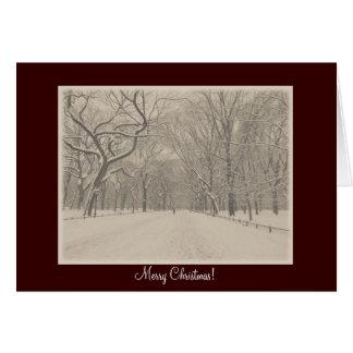 メリークリスマス-セントラル・パークの詩人の歩行の冬 カード
